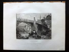 After Balmer 1834 Antique Print. Lauffenburg on the Rhine, Germany
